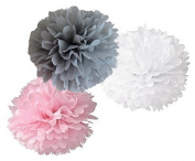 Somnr® Set of 6 Grey Pink White Tissue Paper Pompoms Wedding Birthday Party Nursery Baby Room Hanging Decoration