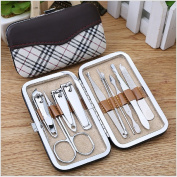 One Set 10pcs Multifunction Stainless Steel Personal Manicure and Pedicure Set Travel Grooming Kit with Box