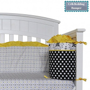 Designer Crib Bedding Bumper, Girl, Black White & Yellow, Polka Dots, Flowers, 100% Cotton, DK LEIGH