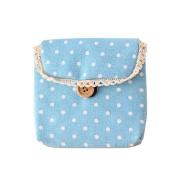 Academyus Lady's Cotton Nappy Sanitary Napkin Storage Bag - Blue