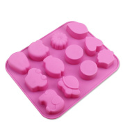 Always Your Chef 12-Cavity Soap Moulds Candy Moulds Chocolate Moulds Mini Flowers Animals Shaped Cupcakes Cups, Random Colours