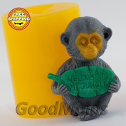 Soap Mould Monkey with leaf 3D Food-grade Silicone Moulds animal Mould Mould for Soap.