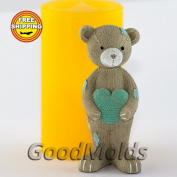 Soap Mould Knitted teddy bear with a heart Food-grade Silicone Moulds animal Mould Mould for Soap.