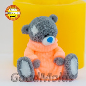 Soap Mould Teddy in a sweater Food-grade Silicone Moulds animal Mould Mould for Soap.