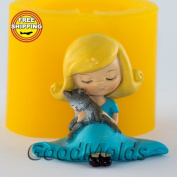 Soap Mould Girl with kitten Food-grade Silicone Moulds animal Mould Mould for Soap.