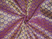 SILK BROCADE FABRIC PURPLE,LIGHT GOLD & METALLIC 140cm - Hobbies,Home decor,Sewing,Fashion,Doll Dress,Furnishing,Interior.