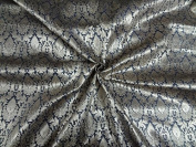 BROCADE FABRIC DARK SILVER & METALLIC GOLD colour - Hobbies,Home decor,Sewing,Fashion,Doll Dress,Furnishing,Interior.