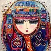 Girl in full dress ,blue, cross stitch kits, 14ct, Egypt cotton thread 150x150 stitch, 37x37cm cross stitch kits