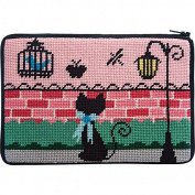 Stitch & Zip Needlepoint Purse Kit- Kitty Kat