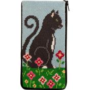 Stitch & Zip Eyeglass Case Needlepoint Kit- Purrfect Cat