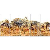 Digital Art PT2365-401 Zebra Herd Large Animal Canvas Art