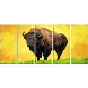 Digital Art PT2328-401 Lone Bison Yellow Animal Canvas Art