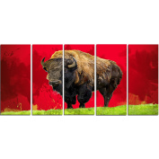 Digital Art PT2327-401 Lone Bison Red Large Animal Canvas Art