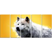 Digital Art PT2330-401 Wonder of the Wolf Yellow Large Animal Canvas Art