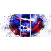 Digital Art PT2358-401 Watchful Gorilla Large Animal Canvas Art