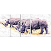 Digital Art PT2340-401 Walking Rhinos Large Animal Canvas Art