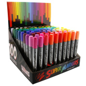 Super Markers Twin-Tip Broad-Liner Marker Set-100 Unique Colours-No Duplicates-Bold Bullet Point & Bold Chisel Tip Markers with 100 Vibrant and Bold Colours