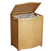 Natural-finished Bowed Front Wood Laundry Hamper with Interior Bag, 1064