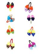 DUOQU 8Pcs Multicolor Baby Girl Grosgrain Ribbon Boutique Hair Bows BB Clips Barrettes Fashion Hair Accessories For Kids Teens