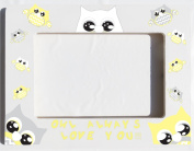 Owl Picture Frames in Yellow, Grey and White / Desk Top Wood 4 X 6 Photo Picture Frame