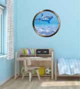 90cm Porthole Ship Window Ocean Sea View SHARK #1 PEWTER ROUND Wall Sticker Kids Decal Baby Room Home Art Décor Graphic LARGE