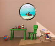 90cm Porthole Ship Window Ocean Sea View GREEN SEA TURTLE #4 PEWTER ROUND Wall Sticker Kids Decal Baby Room Home Art Décor Graphic LARGE