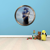 60cm Porthole Ship Window Ocean Sea View PIRATE SHIP DAY #1 PEWTER ROUND Wall Graphic Kids Decal Baby Room Sticker Home Art Décor MEDIUM
