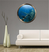 60cm Porthole Ship Window Ocean Sea View SUNKEN SHIP #1 PEWTER ROUND Wall Graphic Kids Decal Baby Room Sticker Home Art Décor MEDIUM