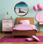 60cm Porthole Ship Window Ocean Sea View SEA LION SEAL #2 PEWTER ROUND Wall Graphic Kids Decal Baby Room Sticker Home Art Décor MEDIUM