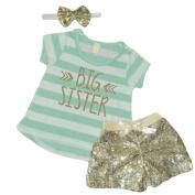 Big Sister Outfit, Baby Girl Clothes, Big Sister Shirt Shorts Headband Set