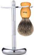 Fento Badger Hair Shaving Brush and Chrome Razor Stand Shaving Set