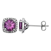 925 Sterling Silver Simulated Alexandrite and .015 ctw Diamond Halo June Birthstone Post Stud Earrings