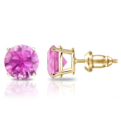 14k Gold 4-Prong Basket Round Pink Sapphire Stud Earrings (3/5 cttw) Secure Lock Back