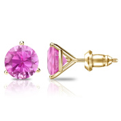 14k Gold 3-Prong Martini Round Pink Sapphire Stud Earrings (1 1/2 cttw) Secure Lock Back