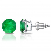 14k Gold 4-Prong Basket Round Green Emerald Stud Earrings (3/4 cttw) Secure Lock Back