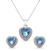 Kriskate & Co. Sterling Silver Heart Shaped Simulated Blue Topaz Necklace and Earrings Set