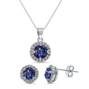 Kriskate & Co. Sterling Silver Round Cut Simulated Tanzanite Necklace and Earrings Set