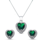 Kriskate & Co. Sterling Silver Heart Shaped Simulated Green Emerald Necklace and Earrings Set