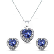 Kriskate & Co. Sterling Silver Heart Shaped Simulated Tanzanite Necklace and Earrings Set