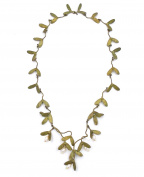 *OURS EXCLUSIVELY* JAPENESE MAPLE LEAF & PEARL NECKLACE/PENDANT BY MICHAEL MICHAUD FOR SILVER SEASONS