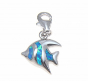 925 Silver rhodium hawaiian tropical fish blue opal clasp enhancer pendant charm