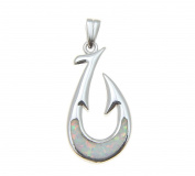 925 Sterling silver rhodium Hawaiian white opal fish hook pendant charm