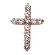 Elegant 14k Rose Gold 15 Carat Round Cubic Zirconia Cross Pendant