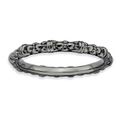 Sterling Silver Stackable Expressions Black-plated Cable Ring