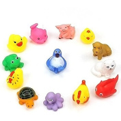 OPPOHERE 13Pcs Safe Soft Rubber Float Sqeeze Sound Baby Wash Bath Play Animals