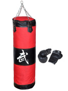 100cm Heavy Bags and Boxing gloves , MMA Boxing Heavy Punching Training Bag with Chain(Empty) + Boxing Gloves Set Kit Taekwondo Training Fitness Heavy Boxing Sand Bag Workout Muay Thai Kick Bag Boxing Bag