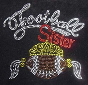 Football Sister Crown Wing Rhinestone Transfer Iron On Hot Fix Motif Bling Applique - DIY