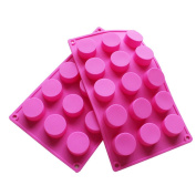 15 Holes Cylinder Silicone Mould For Handmade soap, jelly, Pudding, Cake Baking Tools, Set of 2