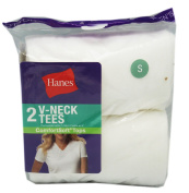 Hanes Women's White Coloured ComfortSoft V-Neck Tees