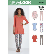 NEW LOOK Patterns Misses' Knit Tunics with Leggings Size A (XS-S-M-L-XL) 6439